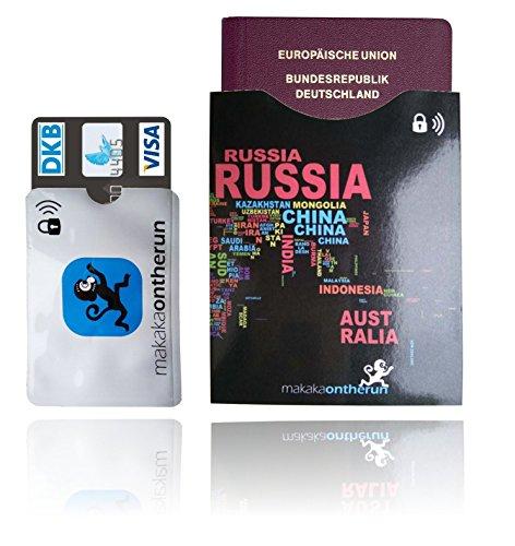 MakakaOnTheRun RFID & NFC Kreditkartenhüllen -Schutzhüllen für Bankkarte, Ausweis, Kreditkarte, EC-Karte – Kreditkartenhülle – RFID Blocker (12x Kreditkarten 3x Reisepass Schutzhüllen (Family Pack))