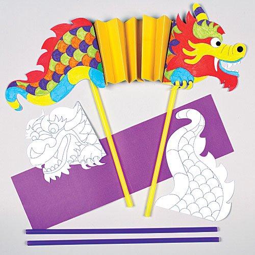 """Bastelset """"Chinesischer Drache"""" zum Ausmalen für Kinder zum Selbergestalten (4 Stück)"""