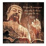 Cadre Bouddha Bois avec Citation - Ce qui te manque, cherche-le dans ce que tu as.