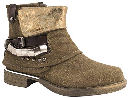 Elara Damen Biker Boots | Metallic Prints Schnallen | Nieten Stiefeletten Lederoptik | Gefüttert Khaki New York