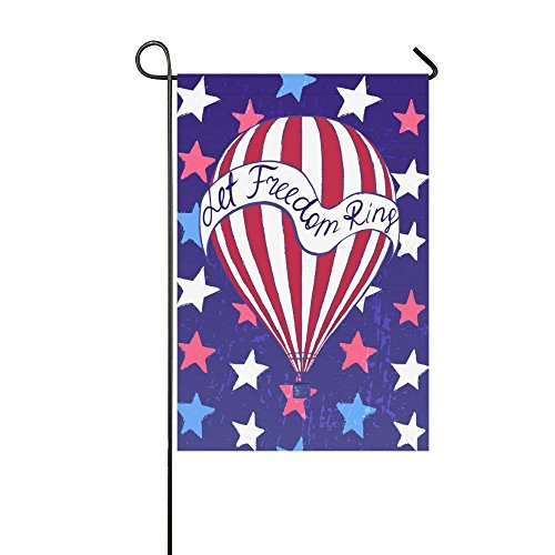 Hot Air Balloon American Stars Polyester Garden Flag House Banner, Let Freedom Ring Decorative Flag for Wedding Party Yard Home Outdoor Decor 12.5x18 inches