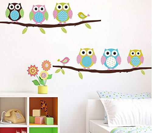 Preisvergleich Produktbild CIDBEST® Cartoon Kinderzimmer Schlafzimmer WÄnde gemalt dekorative Aufkleber niedliche Eule schön Cartoon entfernbare Wandaufkleber