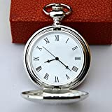 Lx pocket watch Reloj de Bolsillo mecánico de Cuerda Manual Número Grande Roman Flip Calado de...