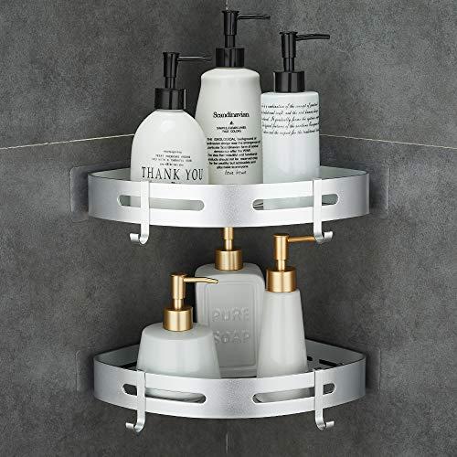 GERUIKE Bad Badregal kein Bohren Duschablagen für Bad Aluminium Badzubehör Duschregal Eckregal Dusche Saug Badezimmer Regal 2 Etagen Silber Dreieck