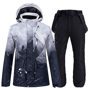 Fayella Skianzug, schwarz Skianzug Set Snowboard Bekleidung Schneekostüm Winter Outdoor Sport Outfit wasserdichte Schneejacken + Hosen Damen