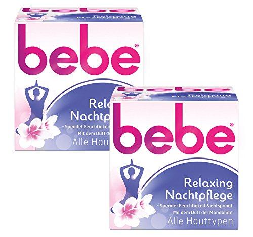 bebe Relaxing Nachtpflege / Feuchtigkeitsspendende Nachtcreme für entspannte und weiche Haut / 2 x 50ml