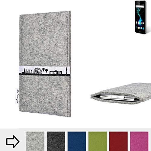 flat.design für Allview P6 Pro Schutz Tasche Handyhülle Skyline mit Webband Wien - Maßanfertigung der Schutz Hülle Handytasche aus 100% Wollfilz (hellgrau) für Allview P6 Pro