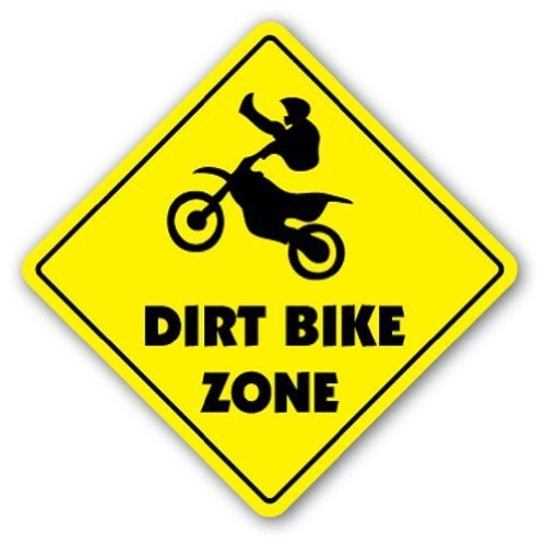 Funny Sign Geschenk Dirt Bike ZONE Sign Neuheit Jump Berm Reifen Trail Ride Outdoor Metall Aluminium Schild, Dekoration