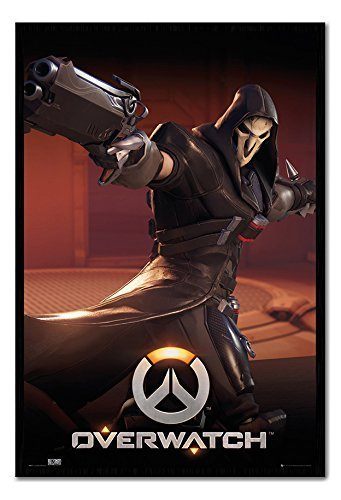 Overwatch Reaper Poster Magnetico Bacheca Cornice Nera - 96.5 x 66 cms (Approx 38 x 26 pollici)