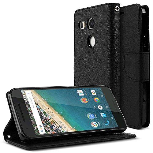 Faux-leder-snap (Nexus 5x Wallet [Schwarz] Schutzhülle Faux Leder Flip Cover ID Slots Bill Passen & Snap Close Magnet für Google Nexus 5X, Nexus 52Nd Gen Fall (2015))