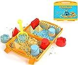 KRAFTZLAB Modellazione di Sabbia per Bambini - 900g di Sabbia Magica Modellante, 2 Colori neutri e Blu, Scatola per Sabbia Pieghevole, stampi e Strumenti per Giocare a Sabbia