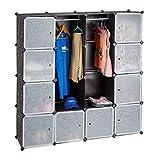 Relaxdays Kleiderschrank Stecksystem, 12 Fächer, Kunststoff, großer Garderobenschrank m. Muster, 145,5x145,5 cm, schwarz