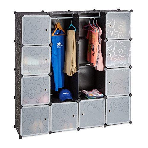 Relaxdays Kleiderschrank Stecksystem, 12 Fächer, Kunststoff, Großer Garderobenschrank m. Muster,...