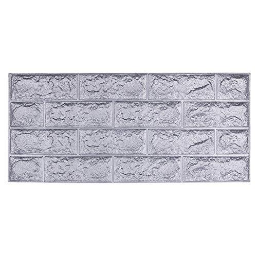 3D Ziegelstein Tapete, YTAT Selbstklebend Brick Muster Tapete, Fototapete~Wandaufkleber für Schlafzimmer Wohnzimmer moderne tv schlafzimmer wohnzimmer dekor, 70x31x1cm(1, grau)