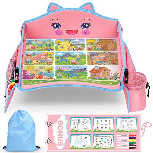Lenbest Vassoio di Viaggio per Modellare Gatto, Motivo di Sfondo da Favola, Vassoio Gioco da Viaggio Auto per Bambini - 5 Carte da Disegno a Tema Gatto - Rosa e Blu - Facile da Trasportare