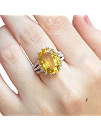 Silver Dew Pure 925 Sterling Silver 14K White Gold Plated Diamond Ring For Lovely Lady, Women's & Girls Citrine...
