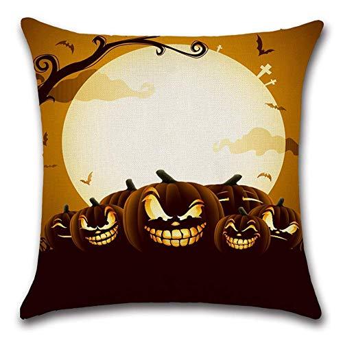 Xukmefat Feliz decoración de Halloween fundas de almohada calabaza linterna de algodón de lino funda de cojín cuadrado para EL sofá en casa (Halloween Para Calabazas)