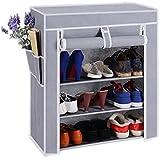 Bae shoe racks for home Plastic Rack 4-Shelf with cover multi purpose shoe rack organiser Gery (shoe stand)