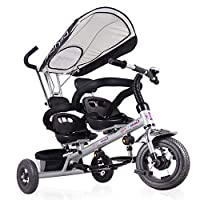 Kids 4 in 1 Trike Tricycle for Twins, Double Child 3 Wheel Bike, Baby Infant Stroller Boys Girls Toddler Trike for 1-6 Years Old