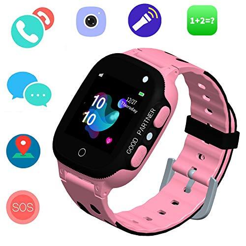 Kinder SmartWatch Phone Smartwatches mit SOS Voice Chat Kamera Taschenlampe Wecker Digitale Armbanduhr Smartwatch Girls Boys Birthday (01 Uhr Pink)