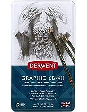 Derwent Graphic Medium Graphite Pencils, 6B-4H (Set of 12)