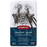 Derwent34214  Graphic Medium Graphite Drawing Pencils, Set of 12, Professional Quality, Black