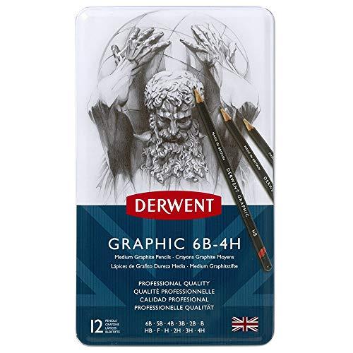 Derwent Graphic Bleistifte M 6B-4H Metallbox 12 Stück -