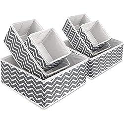 Boîte de rangement en tissu pliable pour armoire, tiroir de placard, commode, organiseur de tiroir en tissu, poubelles cubiques pour sous-vêtements, chaussettes, cravates, écharpes et mouchoirs.