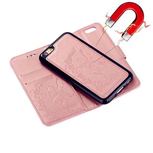 Custodia iPhone 7 2 in 1 Flip Magnetica contanti e slot per schede Custodia in pelle Protettiva Cover-porpora Rose Gold