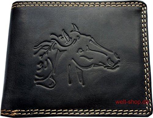 Portemonnaie Wasserbüffel Leder Pferd geprägt Schwarz