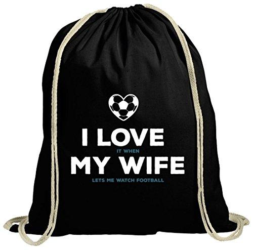 79a204d8c1eb6 Geschenkidee natur Turnbeutel mit Football I Love My Wife Motiv von  ShirtStreet schwarz natur