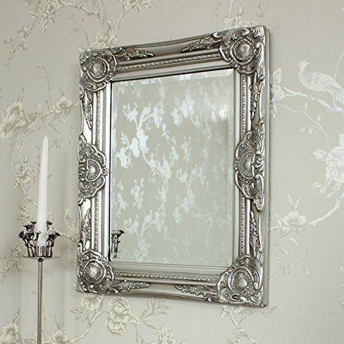Ornate French Vintage Style Antique SIlver Gilt Wall Mirror U0026 Bevelled Glass