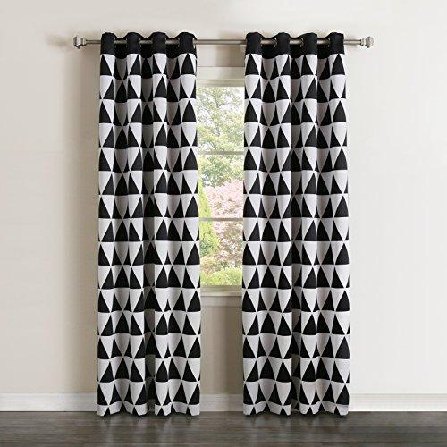 Best Home Fashion Verdunkeln Big Triangle Print Vorhänge Edelstahl Nickel Tülle Top–Schwarz–132,1cm W x 213,4cm L–(Set von 2)