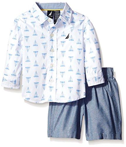 Nautica Baby Boys' 2 Piece Woven Set, White, 18 Months (Nautica Kurze Jungen)