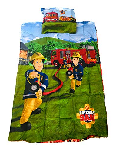 Sam le Pompier Parure de lit, Housse de Couette réversible 140x200 cm + taie 63 x 63 cm Fireman Sam (oekotek)