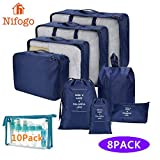 Nifogo Kleidertaschen Koffer Organizer Set 8-Teilig für Rucksack Kleidung Kosmetik Schuhbeutel Kabel Aufbewahrungstasche, Reisen Organizer Tasche (V- Navy Blau + Sprühflasche Klein)