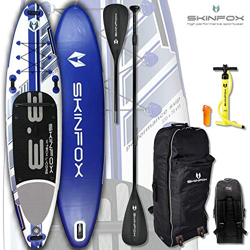 SKINFOX Seahorse aufblasbares 4-lagiges Inflatable SUP Board Paddelboard Stand Up NEUESTE SUP Generation 4 TECH L-CORE (335x78x15/Tragkraft 175 kg) Carbon-Set blau-Board,Bag,Pumpe,Carbon-Paddel+Leash