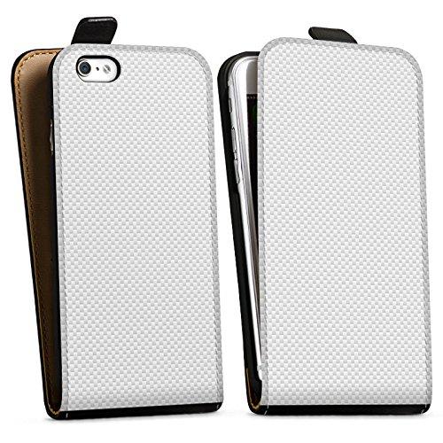 Apple iPhone X Tasche Hülle Flip Case Carbon Look Weiß Muster sie Downflip Tasche schwarz