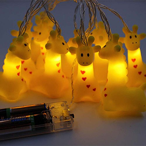 (Leisurely Lazy 1.5 m / 4.9 ft 10 Lights Battery Powered Cute Animal Giraffe Shape LED String Lights for Indoor/Outdoor Halloween Christmas Thanksgiving Home Party Children Kids Bedroom Decoration)