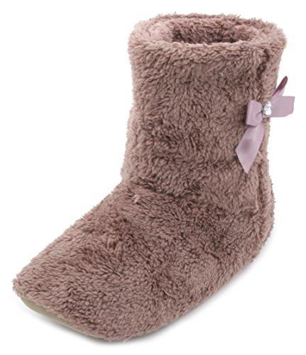 Pantofole donna corallo pile Bootie Pantofole Con Fiocco Mink