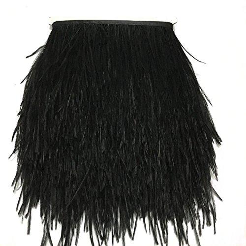 KOLIGHT Gefärbte Straußenfedern, natürlich, ca. 10-15 cm, Fransenborte für selbstgemachtes Kleid, zum Nähen, Basteln, für Kostüme, Dekoration, Packung mit 1,8 m Schwarz  (Kleid Straußenfedern Schwarze)