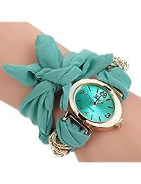 Green : ALCYONEUS Casual Sweet Bow Cloth Strap Round Dial Quartz Bracelet Wrist Watch For Woman
