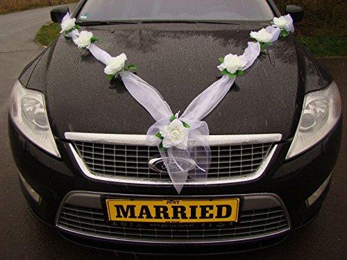 Ghirlanda M Auto decorazione sposa paio di Rose Auto drachensilber matrimonio Car Auto Wedding Decorazione Ghirlanda Auto Weiß / Weiß