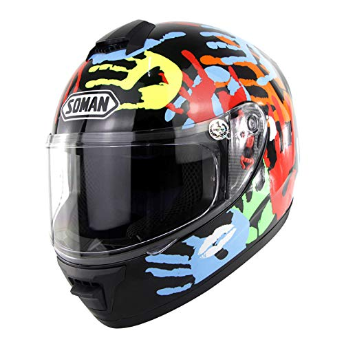 MeterMall Casco de moto integral unisex Casco de motocross transpirable cómodo Casco de carreras Patrón de la palma S auto accesorios