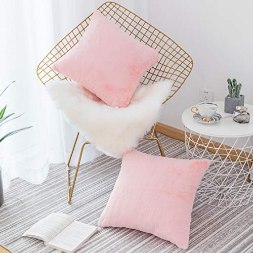 HOME BRILLIANT Solide Komfort-Streifen Cord Kissen Kissenbezug Modern 2 Packs, 18x18 Rosa (S-Pink)
