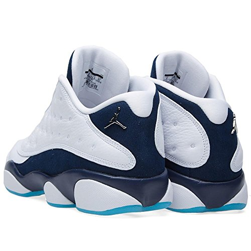 Nike Air Jordan 13 Retro Low, Chaussures de Sport-Basketball Homme Multicolore - Blanco / Plateado / Azul (Wht / Mtllc Slvr-Mdnght Nvy-Trqs)