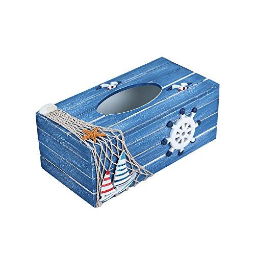 Mittelmeer Style Facial Tissue Boxen Pumpen Papier Serviette Box Halter Holz Cover, Kunstharz, 5# (Box Cover Strand Tissue)