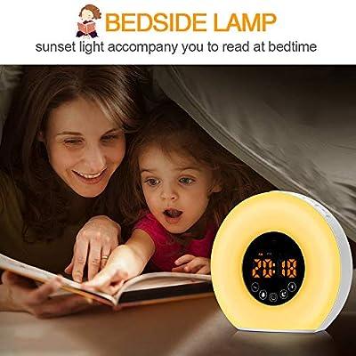 unibelin Lichtwecker, Wake Up Licht mit FM Radio Wecker mit Sonnenaufgangssimulation 7 Wecktöne Snooze Funktion 10 Dimmstufen LED Nachtlicht Nachttischlampe für Kinder, Haus, Schlafzimmer,Geschenk von unibelin