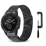 C2D JOY Ersatz für GarminFenix5(Plus) armbänder ersatz GPS-Multisport-Smartwatch Milanaise ersatzarmband, Edelstahllegierung mit speziellem Magnet schluss Schwarz, L