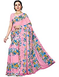 Ishin Poly Georgette Pink Printed Women's Saree/Sari